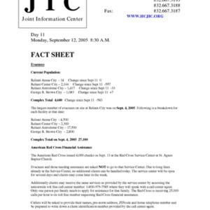 Hurricane Katrina Houston Response Fact Sheet: Fact Sheet for Day 11, Monday, September 12, 2005 8:30 A.M.