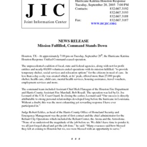 """Hurricane Katrina Houston Response News Release: """"Mission Fulfilled, Command Stands Down"""""""