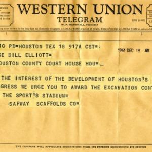 Telegram to County Judge Bill Elliott