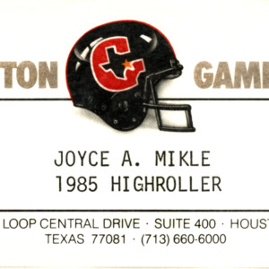 Houston Gamblers Business card<br /><br />