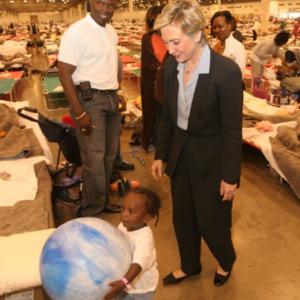 Photograph, Senator Hillary Clinton Visiting Katrina Evacuees at Reliant Arena